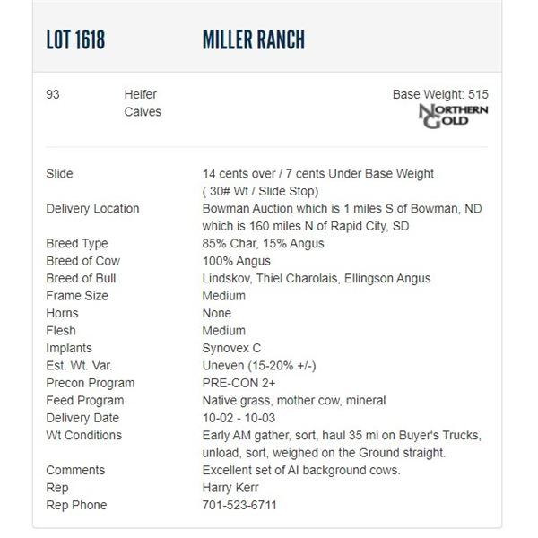 Miller Ranch - 93 Heifers Base Weight: 515