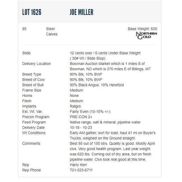 Joe Miller - 95 Steers Base Weight: 600