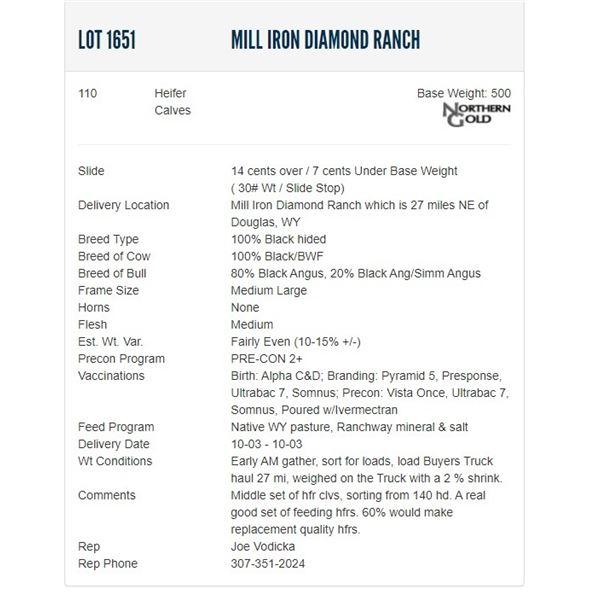Mill Iron Diamond Ranch - 110 Heifers Base Weight: 500