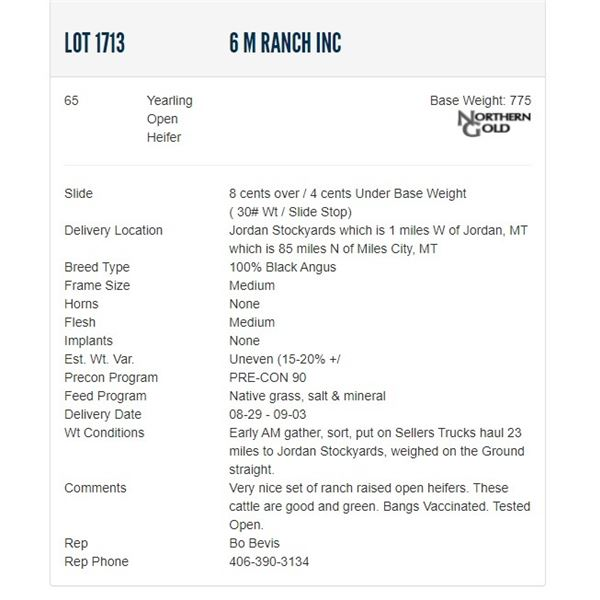 6 M Ranch Inc - 65 Open Heifers Base Weight: 775
