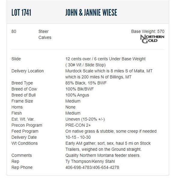 John & Jannie Wiese - 80 Steers Base Weight: 550