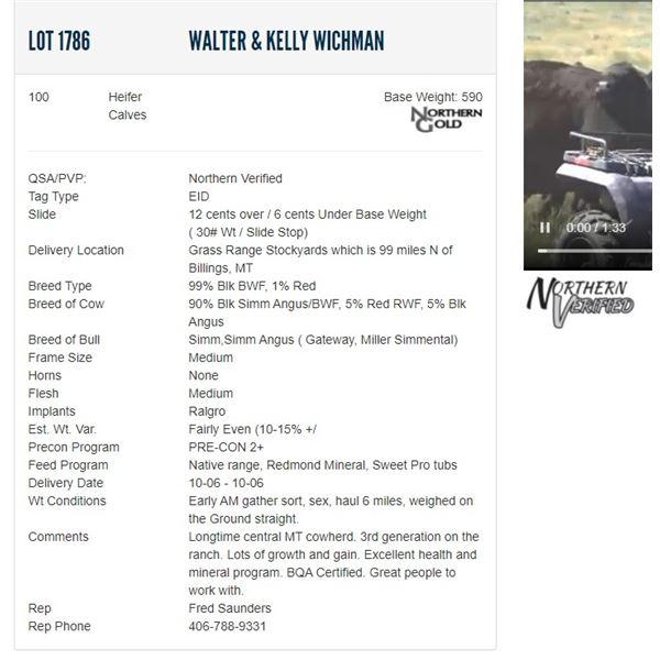 Walter & Kelly Wichman - 100 Heifers Base Weight: 590