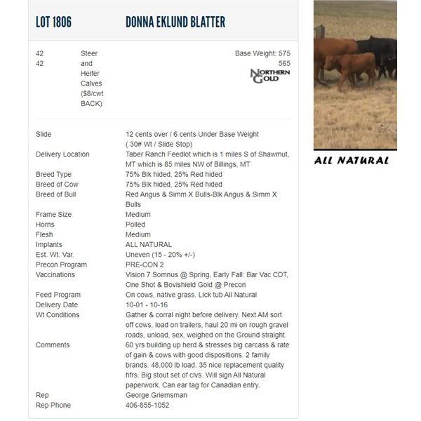 Donna Eklund Blatter - 42/42 Steers/Heifers Base Weight: 575/565