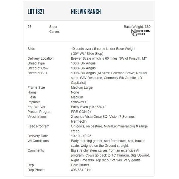 Hjelvik Ranch - 93 Steers Base Weight: 680