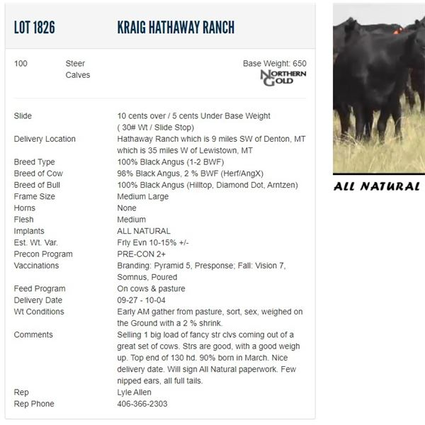 Kraig Hathaway Ranch - 100 Steers Base Weight: 650