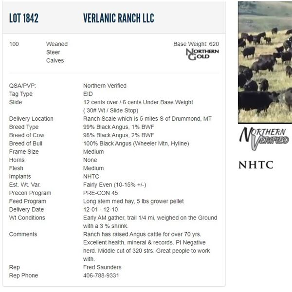 Verlanic Ranch LLC - 100 Weaned Steers Base Weight: 620