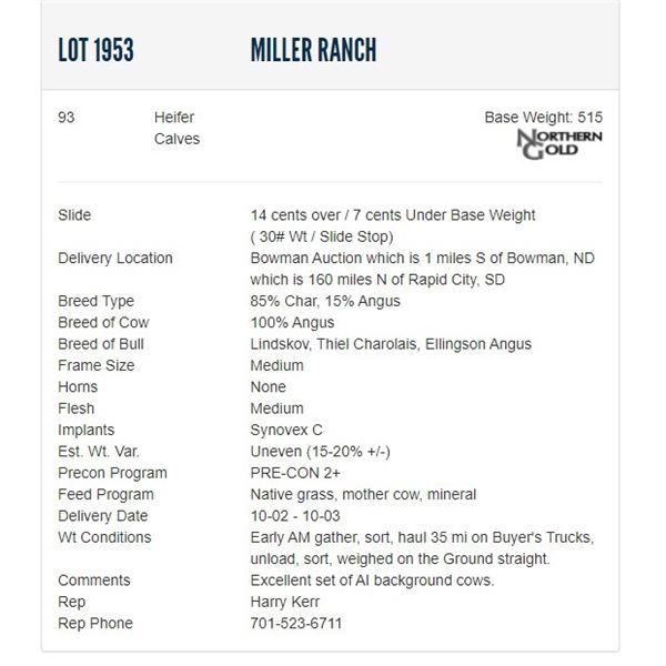 Miller Ranch - 93 Heifers, Base Weight: 515