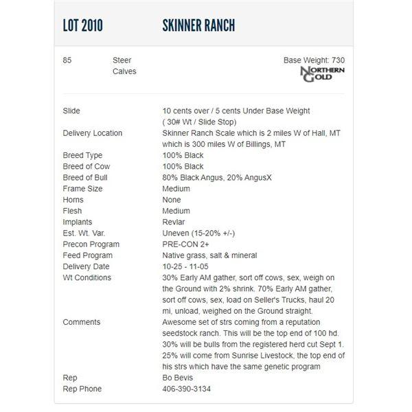 Skinner Ranch - 85 Steers, Base Weight: 730