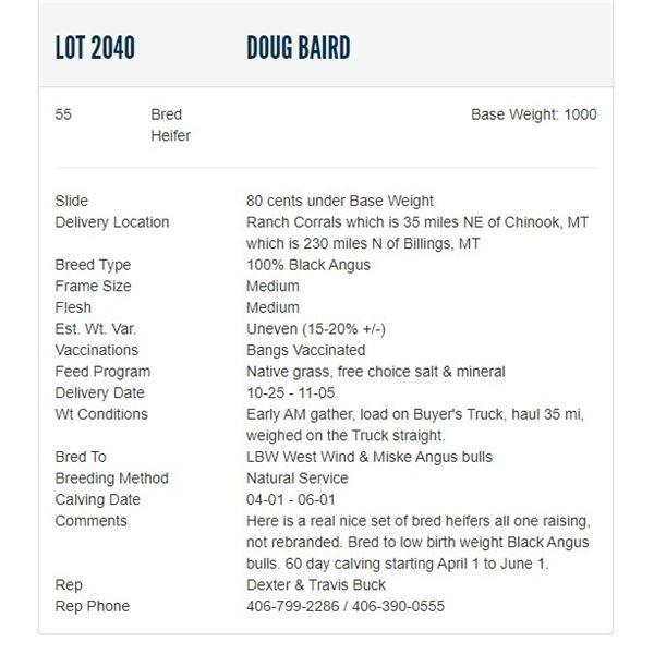Doug Baird - 55 Bred Heifers, Base Weight: 1000