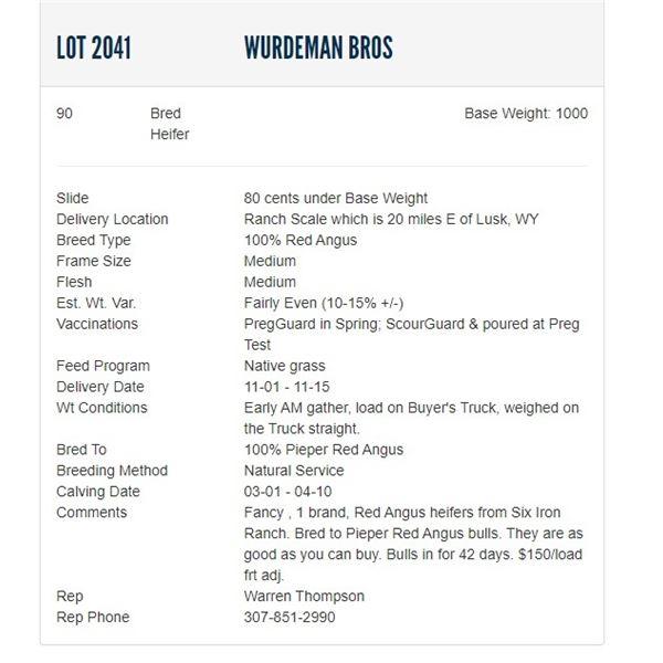 Wurdeman Bros - 90 Bred Heifers, Base Weight: 1000