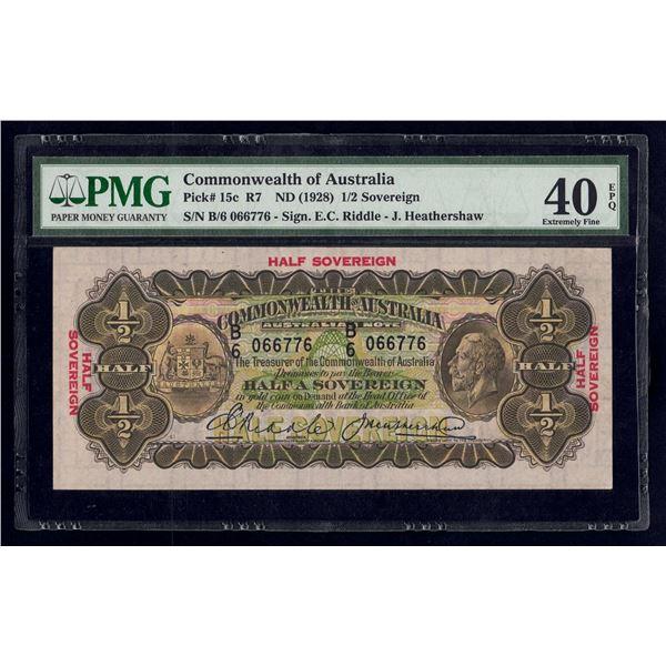 AUSTRALIA 10 Shillings. 1928. Sig Riddle-Heathershaw. SUPERB TYPE NOTE!