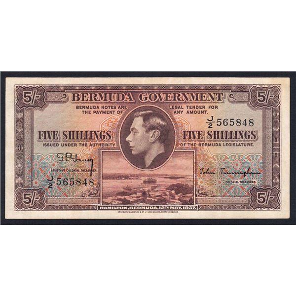 BERMUDA 5 Shillings. 12.5.1937. Prefix Letter/Number. CHOICE GEORGE VI PORTRAIT NOTE
