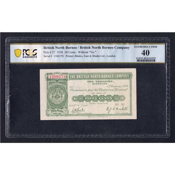 BRITISH NORTH BORNEO 50 Cents. 1.1.1938. 7-DIGIT SERIAL NUMBER