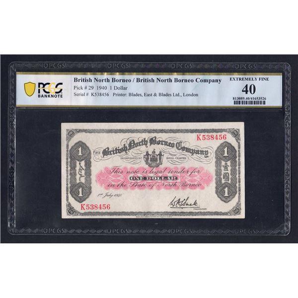 BRITISH NORTH BORNEO 1 Dollar. 1.7.1940. CHOICE & RARE THUS!