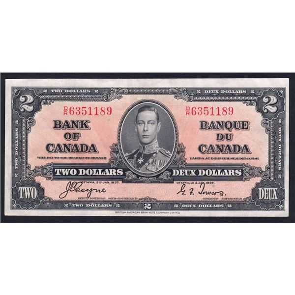 CANADA 2 Dollars. 2.1.1937. Sig Coyne-Towers. GEORGE VI IN CENTRE