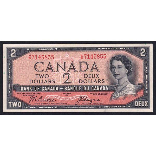 "CANADA 2 Dollars. 1954. Sig Beattie-Coyne. ""DEVIL'S HEAD"" IN QUEEN'S HAIR"
