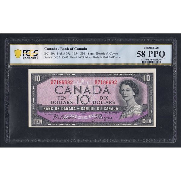 "CANADA 10 Dollars. 1954. Sig Beattie-Coyne. ""MODIFIED PORTRAIT"""