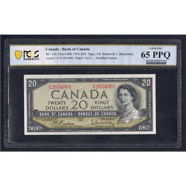 """CANADA 20 Dollars. 1954. Sig Beattie-Rasminsky. """"MODIFIED PORTRAIT"""""""