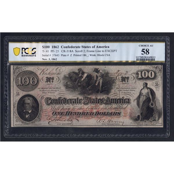 CONFEDERATE STATES OF AMERICA 100 Dollars. 3.11.1862. Richmond. Cotton hoeing vignette