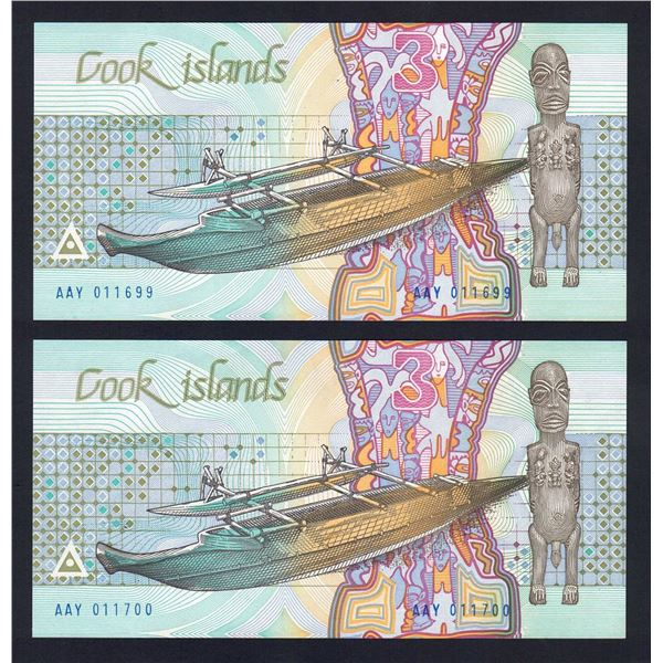 COOK ISLANDS 3 Dollars. 1987. Sig Davis. CONSECUTIVE PAIR
