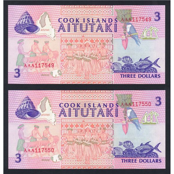 COOK ISLANDS 3 Dollars. 1992. Sig Henry. CONSECUTIVE PAIR