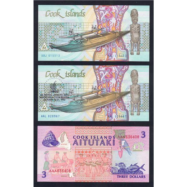 COOK ISLANDS 3 Dollars. 1987-92. SET OF 3 TYPES