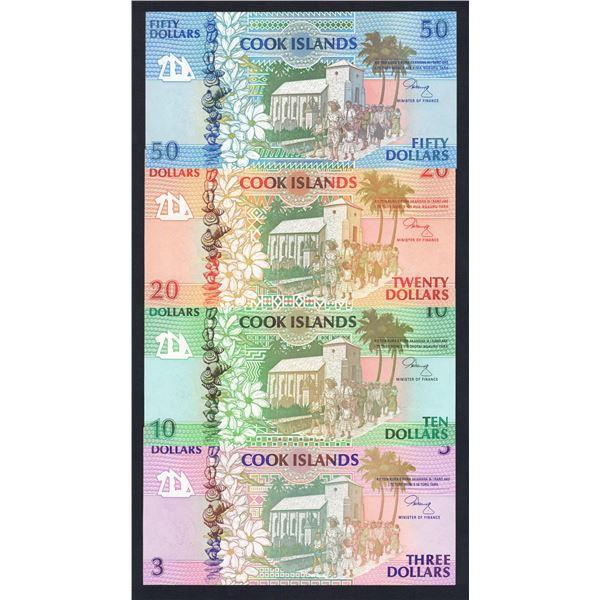 "COOK ISLANDS 3, 10, 20 & 50 Dollars. 1992. Sig Henry. PREFIX ""AAA"" LOW NUMBER SET OF 4"