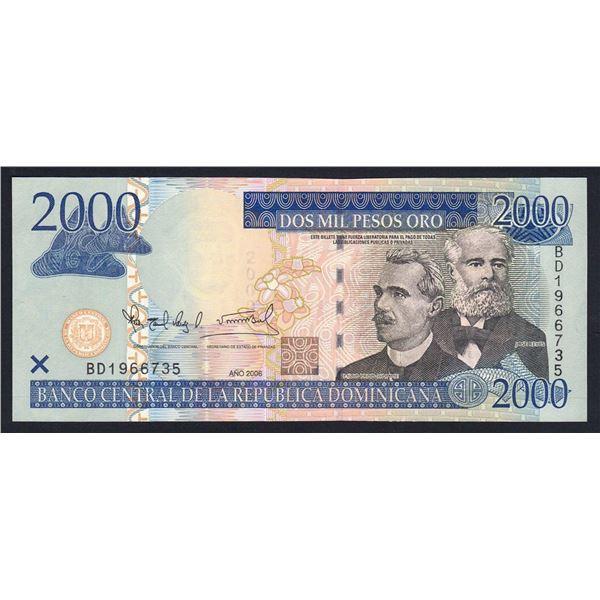 "DOMINICAN REPUBLIC 2000 Pesos Oro. 2006. PRINTER ""DLR"" (De La Rue)"