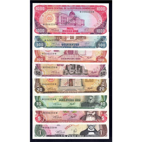 DOMINICAN REPUBLIC 1 Peso Oro to 1000 Pesos Oro. 1978. SPECIMEN SET OF 8