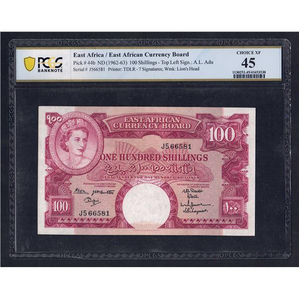 "EAST AFRICA 100 Shillings. 1962. QEII Portrait. TOP LEFT SIGNATURE ""ADU"""