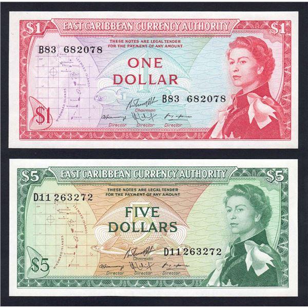 EAST CARIBBEAN STATES 1 & 5 Dollars. 1965. SIg 10. QEII PORTRAIT PAIR