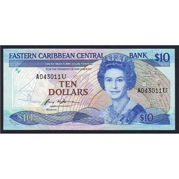 "EAST CARIBBEAN STATES 10 Dollars. 1985. Sig 1. SUFFIX ""U"" (ANGUILLA)"