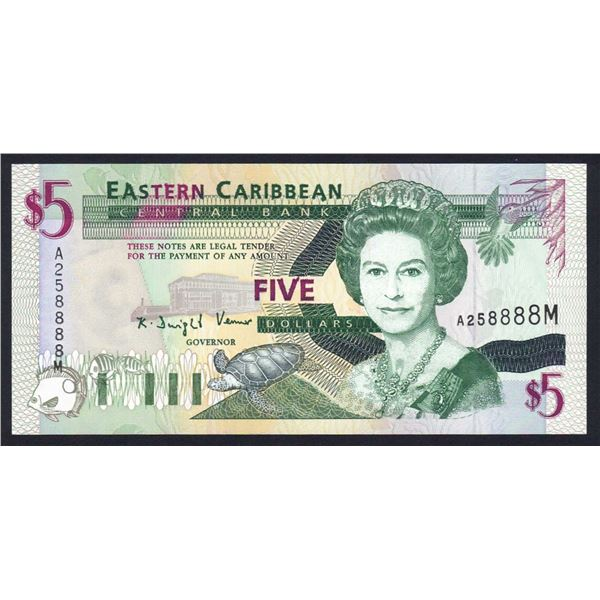 "EAST CARIBBEAN STATES 5 Dollars. 1994. Sig 2. SUFFIX ""M"" (MONTSERRAT)"