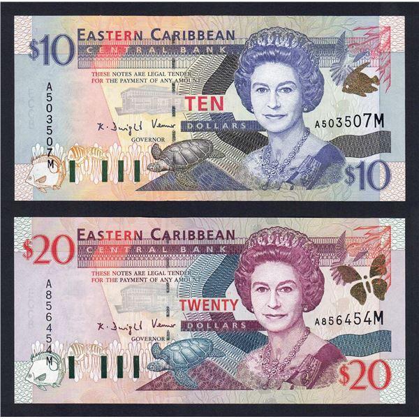 "EAST CARIBBEAN STATES 10 & 20 Dollars. 2000. Sig 2. SUFFIX ""M"" (MONTSERRAT)"