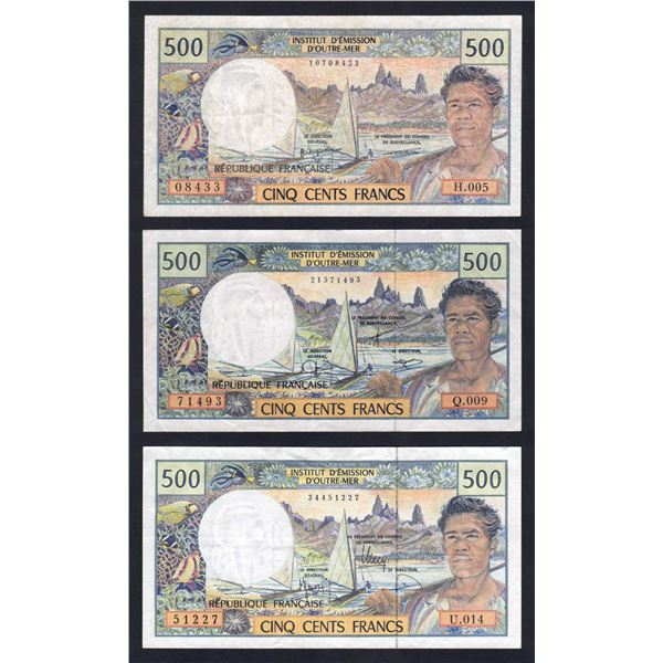 FRENCH PACIFIC TERRITORIES 500 Francs. 1992-2010. SET OF 3 SIGNATURE VARIETIES