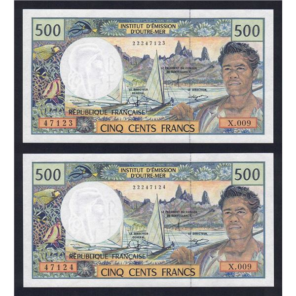FRENCH PACIFIC TERRITORIES 500 Francs. 2002. Sig Severino-Redouin-Teyssere. PAIR
