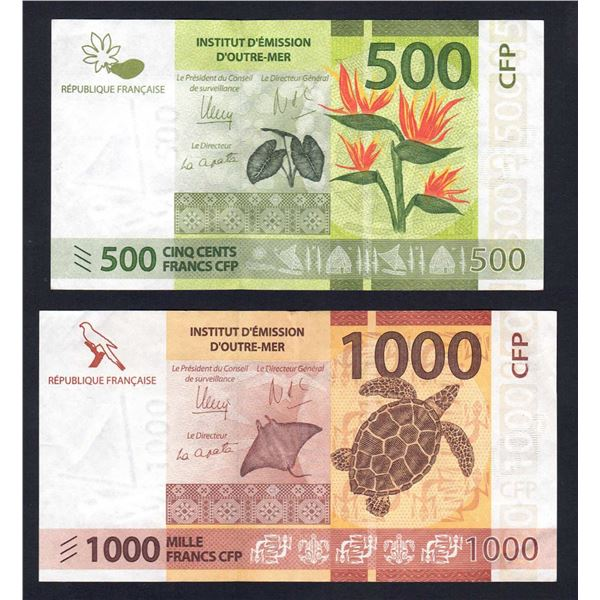 FRENCH PACIFIC TERRITORIES 500 & 1000 Francs. 2014. Sig de Seze-Noyer-la Cognata