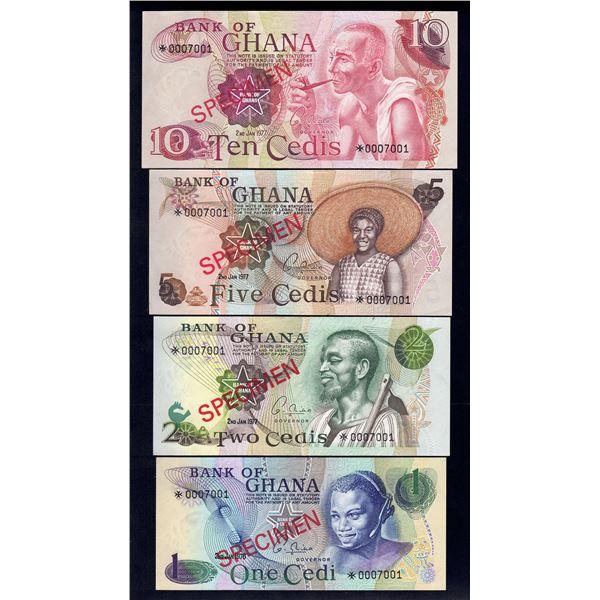 GHANA 1 Cedi to 10 Cedis. (1976-77) 1977. SPECIMEN SET OF 4
