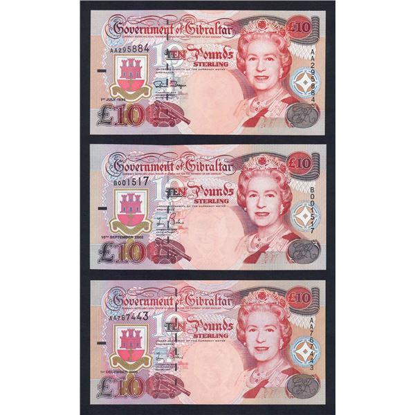 GIBRALTAR 10 Pounds. 1.7.1995, 10.9.2002 & 1.12.2006. QEII PORTRAIT SET OF 3 DATES
