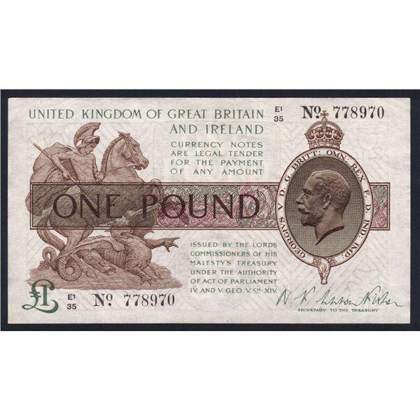 """GREAT BRITAIN 1 Pound. 1922. Sig Warren Fisher. George V Portrait. DOT IN """"NO""""."""