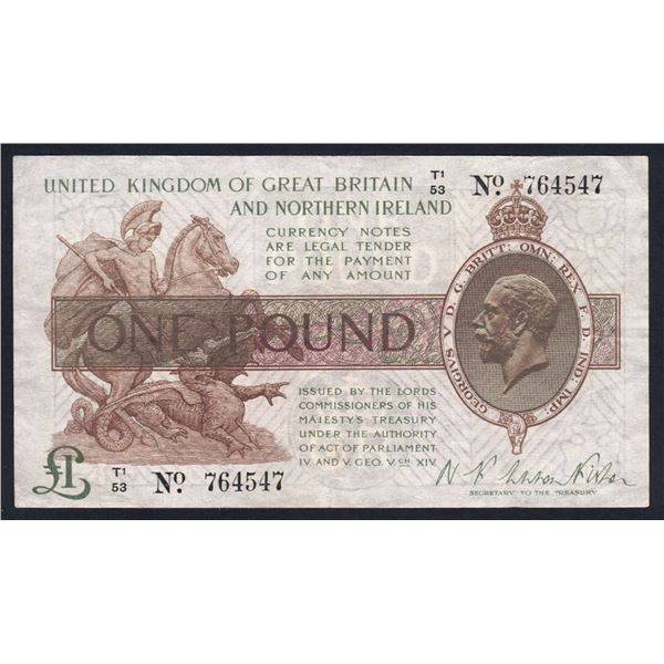 """GREAT BRITAIN 1 Pound. 1928. Sig Warren Fisher. Dot in """"No"""". """"NORTHERN IRELAND"""" TITLE"""