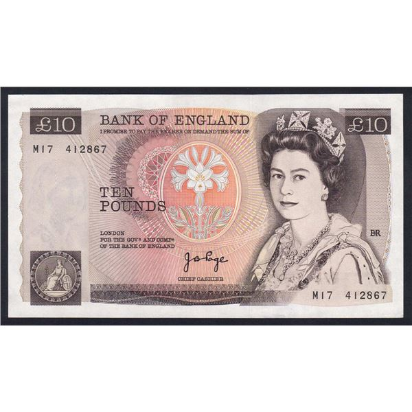 """GREAT BRITAIN 10 Pounds. 1975. Sig Page. SCARCE PREFIX """"M17"""" REPLACEMENT"""