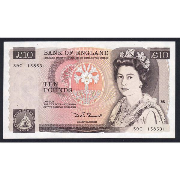"""GREAT BRITAIN 10 Pounds. 1980. Sig Somerset. Without """"L"""" Reverse. SOLID THREAD"""