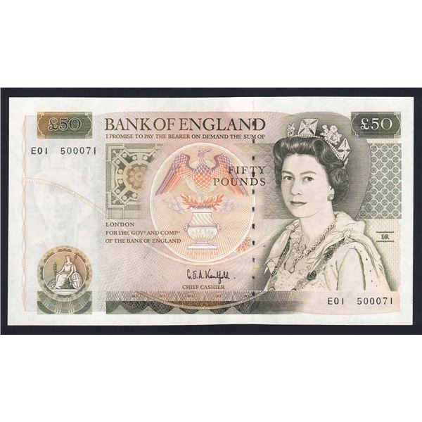 "GREAT BRITAIN 50 Pounds. 1991. Sig Kentfield. SCARCE 1ST RUN ""E01"". Cat £200"