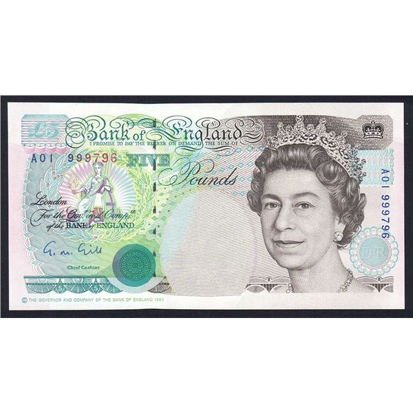 """GREAT BRITAIN 5 Pounds. 1990. Sig Gill. 1ST RUN """"A01"""". Cat £30"""