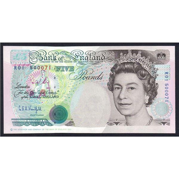 "GREAT BRITAIN 5 Pounds. 1991. Sig Kentfield. 1ST RUN ""R01"". Cat £60"