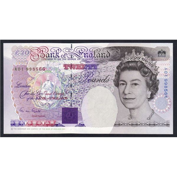 """GREAT BRITAIN 20 Pounds. 1991. Sig Gill. SCARCE 1ST RUN """"A01"""". Cat £95"""