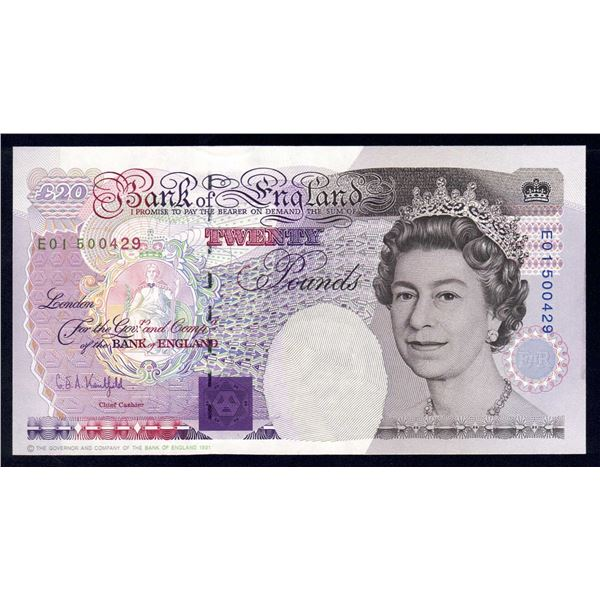 "GREAT BRITAIN 20 Pounds. 1991. Sig Kentfield. SCARCE 1ST RUN ""E01"". Cat £180"