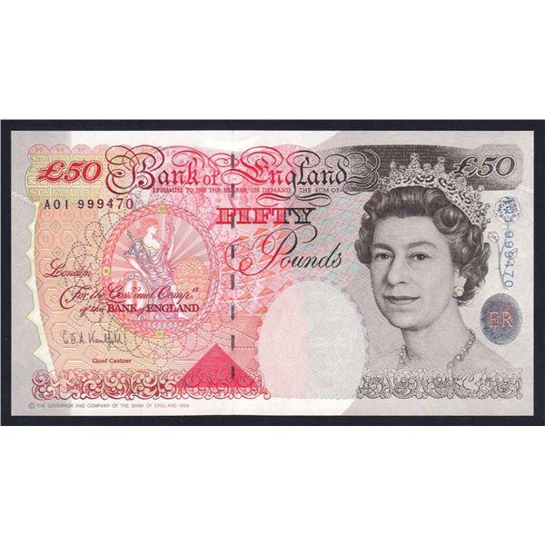"GREAT BRITAIN 50 Pounds. 1994. Sig Kentfield. SCARCE 1ST RUN ""A01"". Cat £160"