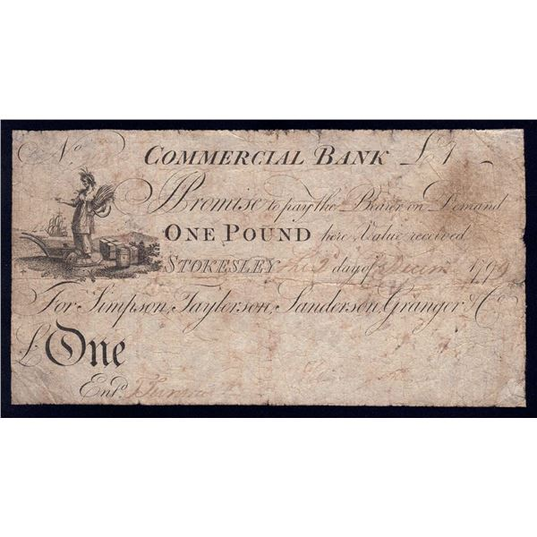 GREAT BRITAIN Commercial Bank. 1 Pound. 2.12.1799. STOKESLEY